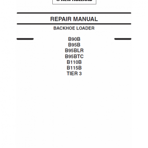 New Holland B90b, B95b, B95 Blr, B95 Tc Backhoe Loader Service Manual