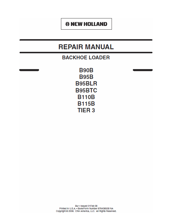 New Holland B110b, B115b Backhoe Loader Service Manual