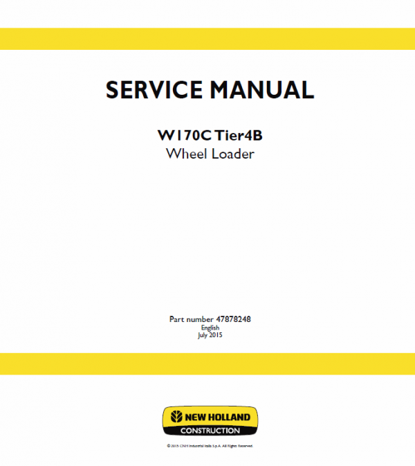 New Holland W130c, W170c Tier 4b Wheel Loader Service Manual
