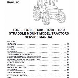 New Holland Straddle TD60, TD70, TD80, TD90, TD95 Tractor Workshop Manual