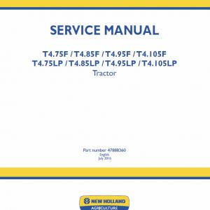 New Holland T4.75lp, T4.85lp, T4.95lp, T4.105lp Tractor Service Manual