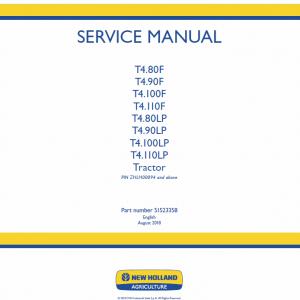 New Holland T4.80lp, T4.90lp, T4.100lp, T4.110lp Tractor Service Manual