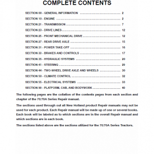 New Holland 70, 70a Tractor Service Manual