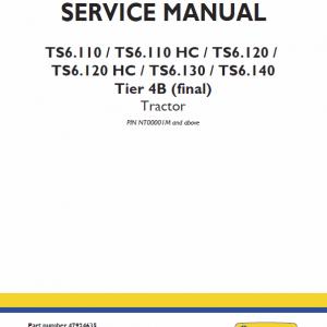 New Holland TS6.110, TS6.120, TS6.125, TS6.140 Tractor Repair Manual