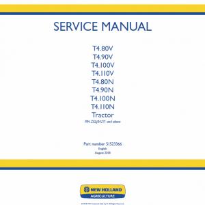 New Holland T4.80v, T4.90v, T4.100v, T4.110v Tractor Service Manual
