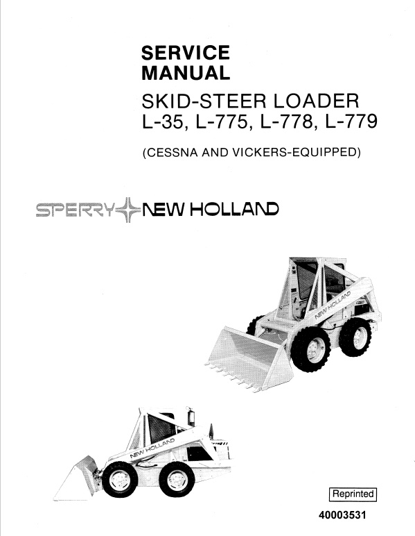 New Holland L35, L775, L778, L779 Skidsteer Service Manual