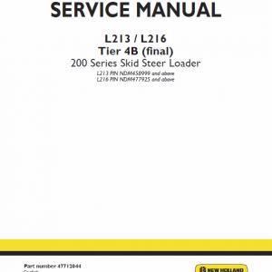 New Holland L213, L215, L216 Skidsteer Loader Service Manual