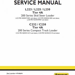 New Holland L223, L225, C232 Skidsteer Loader Service Manual