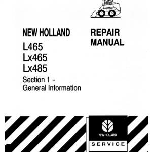 New Holland L465, Lx465, Lx485 Skidsteer Loader Service Manual
