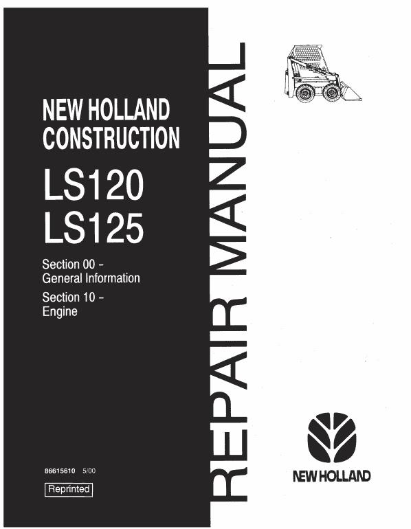 New Holland Ls120, Ls125 Skidsteer Service Manual