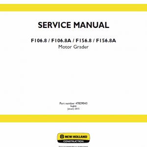New Holland F106.8, F106.8a, F156.8, F156.8a Motor Grader Manual