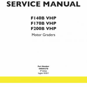 New Holland F140b Vhp, F170b Vhp, F200b Vhp Motor Graders Manual