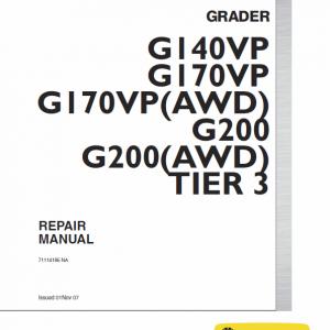 New Holland G170vp Awd, G200vp Awb Motor Grader Repair Manual