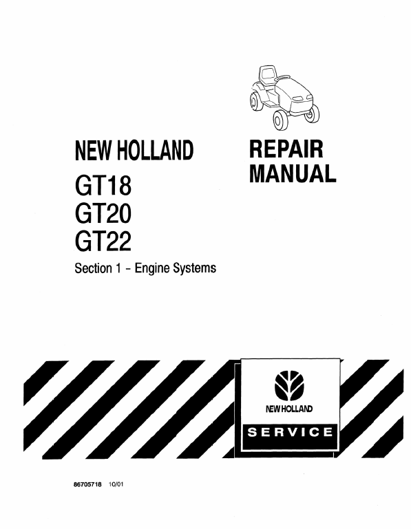 New Holland Gt18, Gt20, Gt22 Mower Tractor Service Manual