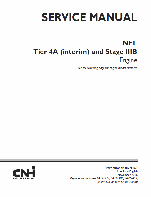 NEF Tier 4A Interim and Stage IIIB Engine Service Manual
