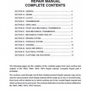 New Holland T55, T65, TN70, TN75 Tractor Repair Manual