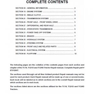 New Holland TC18, TC21D, TD24D Tractor Repair Manual