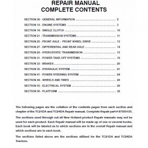 New Holland TC21DA, TC24DA Tractor Repair Manual