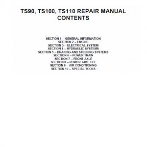 New Holland Ts90, Ts100, Ts110 Tractor Service Manual
