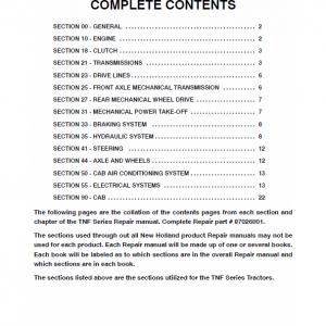 New Holland TN80F, TN90F, TN95F Tractor Service Manual