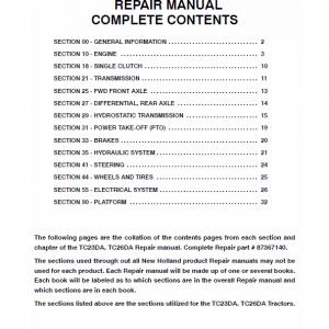New Holland TC23DA, TC26DA Tractor Workshop Manual
