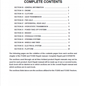 New Holland TC29D, TC33D Tractor Workshop Manual