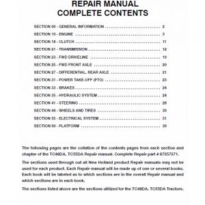 New Holland TC48DA, TC55DA Tractor Workshop Manual