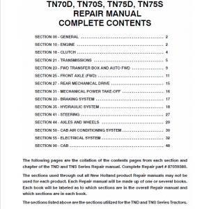 New Holland TN55D, TN65D, TN70D, TN75D Tractor Workshop Manual