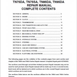 New Holland TN60SA, TN70SA, TN75SA Tractor Workshop Manual