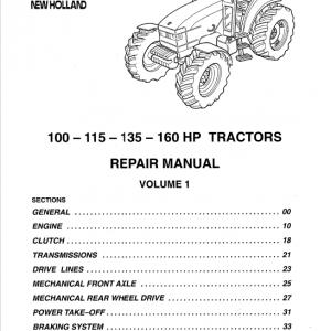 New Holland 100 HP, 115 HP, 135 HP, 160 HP Tractor Service Manual