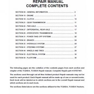 New Holland Tc29da, Tc33da Tractor Service Manual