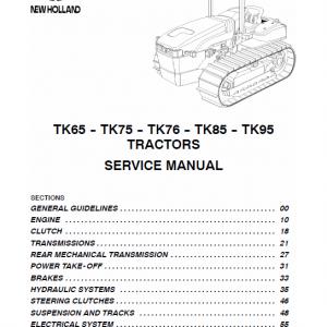 New Holland TK65, TK75, TK76, TK85, TK95 Tractor factory Manual