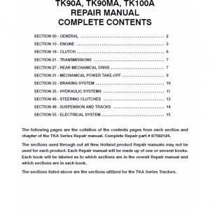 New Holland Tk90a, Tk90ma, Tk100a Tractor Service Manual