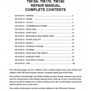 New Holland TM120, TM130, TM140, TM155, TM175, TM190 Tractors Factory Manual