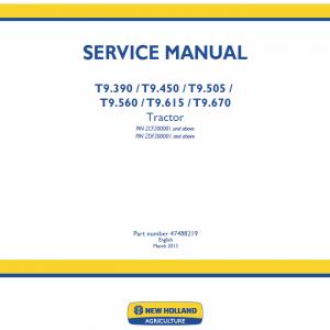 New Holland T9.390, T9.450, T9.505 Tractor Repair Manual