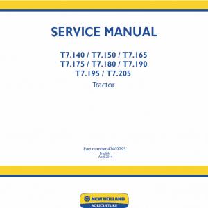 New Holland T7.195, T7.205 Tractor Repair Manual