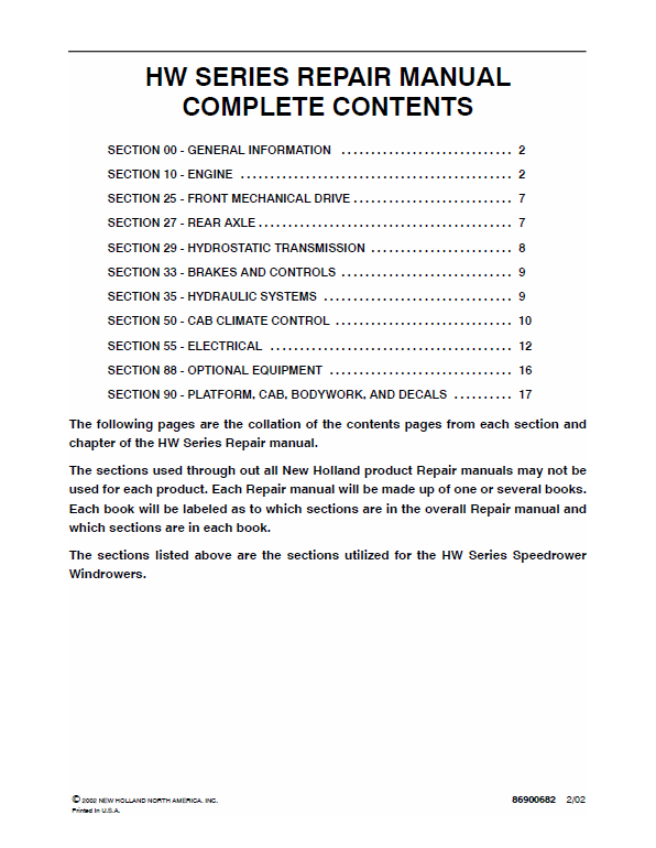 New Holland HW300, HW320 Speedrower Windrowers Service Manual