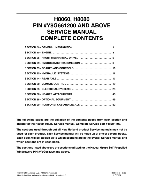New Holland H8060, H8080 Self-Propelled Windrowers Service Manual
