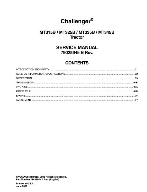 Challenger MT315B, MT325B, MT335B, MT345B Tractor Manual