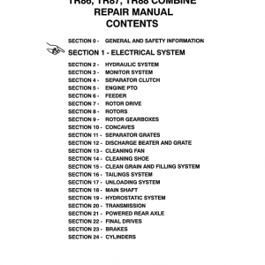 New Holland TR86, TR87, TR88 Combine Repair Manual