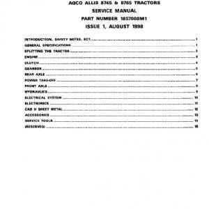 AGCO Allis 8745, 8765 Tractors Service Manual