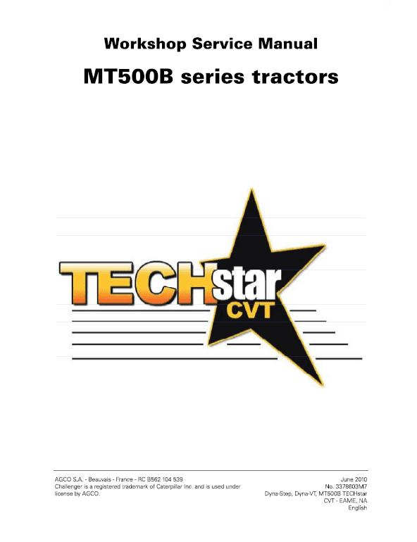 Challenger MT525B, MT535B, MT545B, MT555B Tractor Workshop Manual
