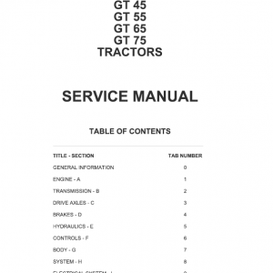 AGCO GT45, GT55, GT65, GT75 Tractor Manual