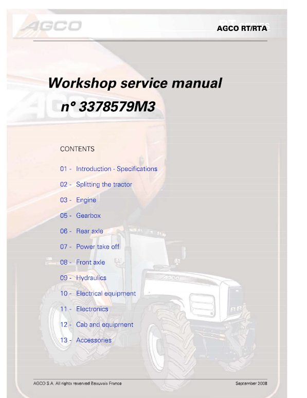 AGCO RT100, RT120, RT135, RT150 PowerMaxx CVT Service Manual