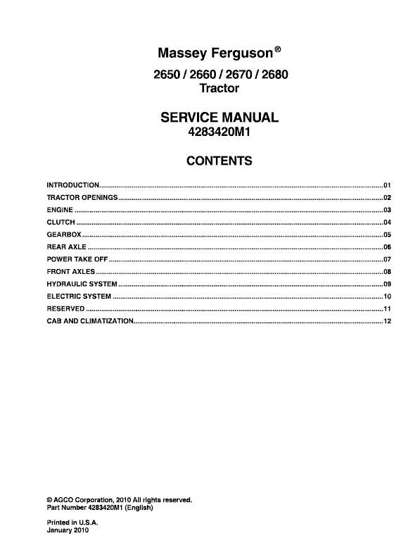 Massey Ferguson 2650, 2660, 2670, 2680 Tractor Service Manual