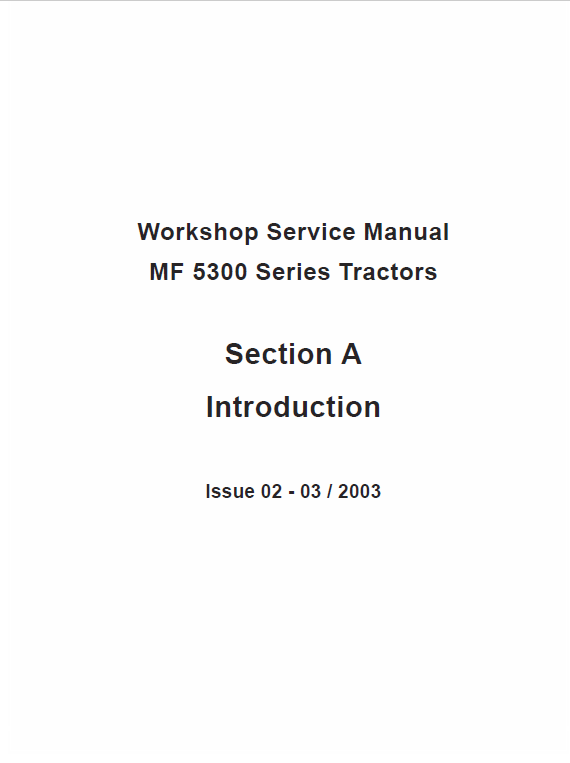 Massey Ferguson 5335, 5340, 5360, 5365 Tractor Service Manual