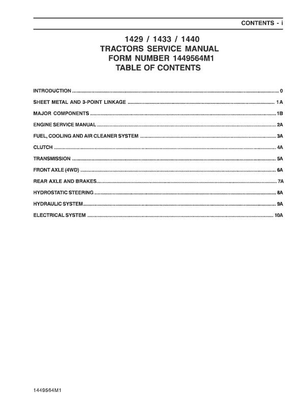 Massey Ferguson 1429, 1433, 1440 Tractor Service Manual