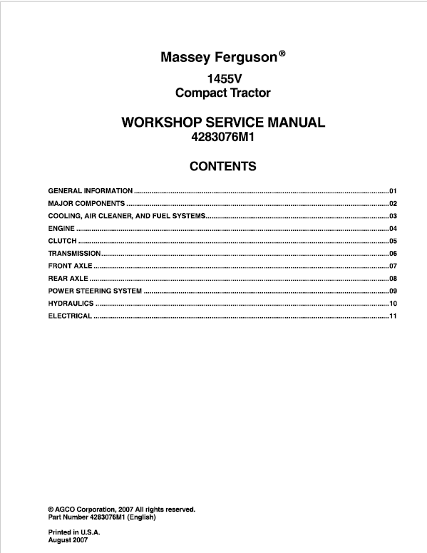 Massey Ferguson 1455 and 1455V Tractor Service Manual