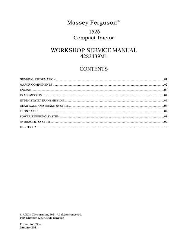 Massey Ferguson 1526 Tractor Service Manual