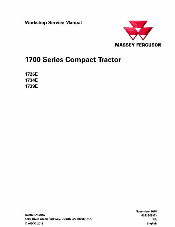 Massey Ferguson 1726E, 1734E, 1739E Tractor Service Manual